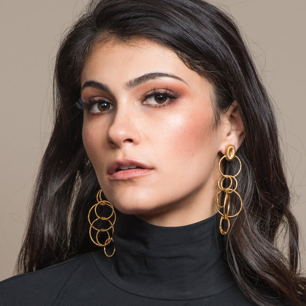 Model wearing 18K Gold-Plated Silver Chain Dangle Designer Earrings on IndieFaves