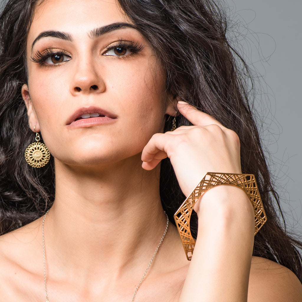 Model wearing Brass Geometrical Designer Bangle or Bracelet on IndieFaves