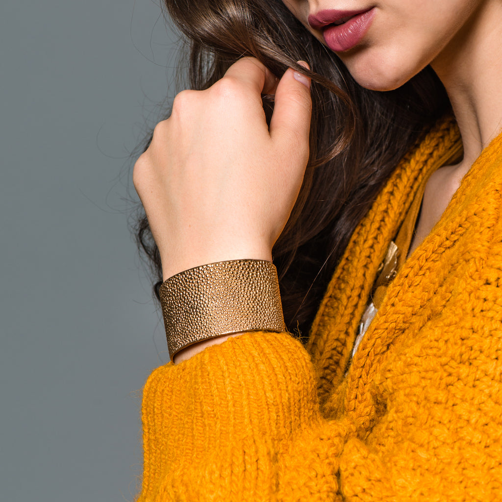 Model wearing Bronze Sting Ray Cuff or Bracelet on IndieFaves