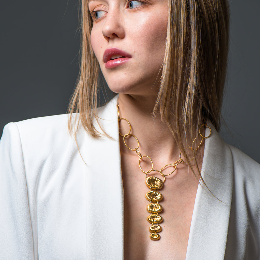 Model wearing 18K Gold-Plated Silver Chain Necklace on IndieFaves