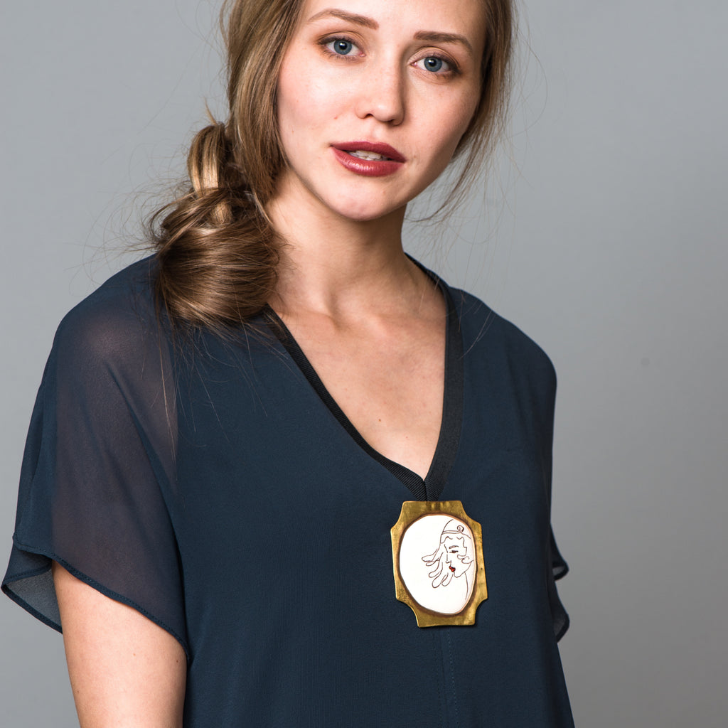 Model wearing May Ganan - Hand-painted Designer Brooch on IndieFaves