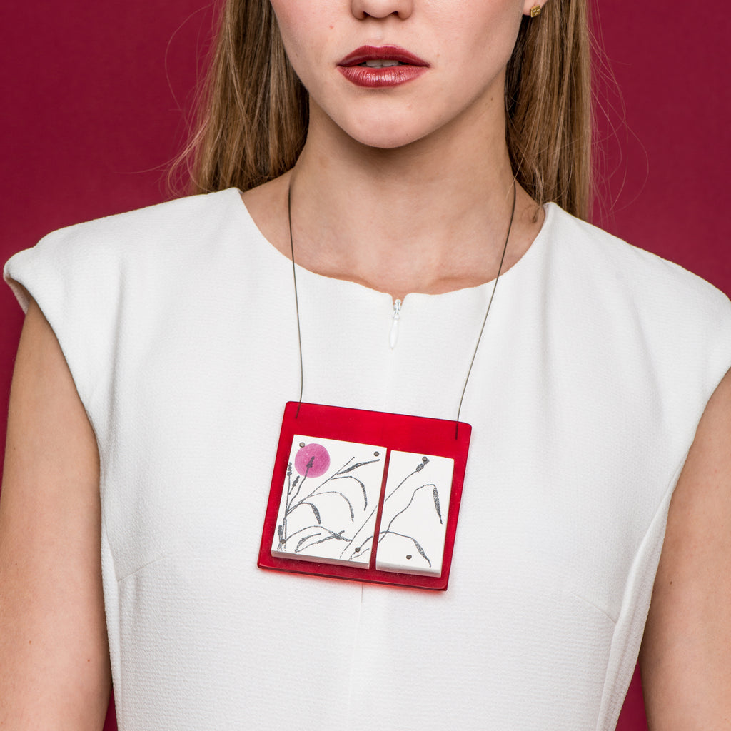Model wearing May Ganan - Hand-painted Designer Necklace on IndieFaves