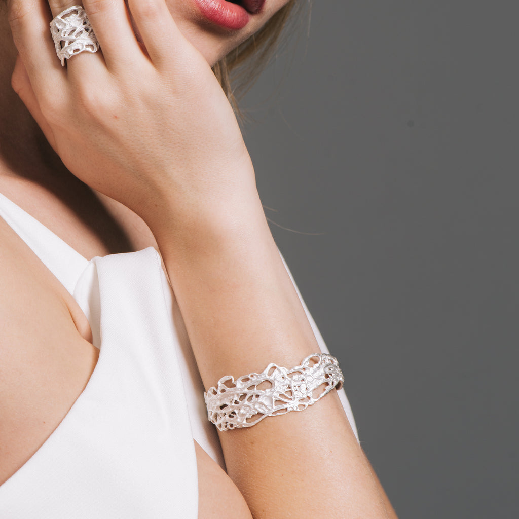 Model wearing Lanzarote Designer Bracelet on IndieFaves