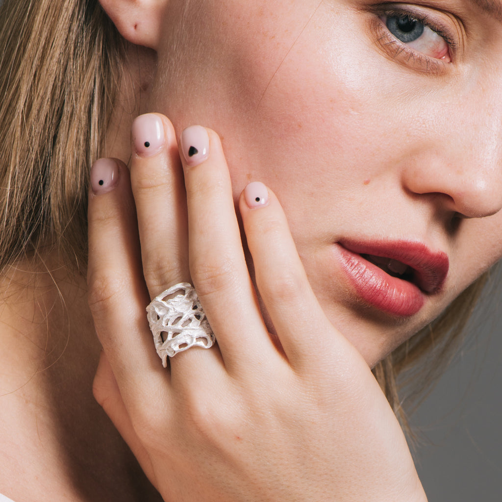 Model wearing Lanzarote Designer Ring on IndieFaves