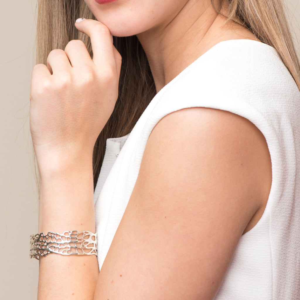 Model wearing Silver Sea Fan Cuff on IndieFaves