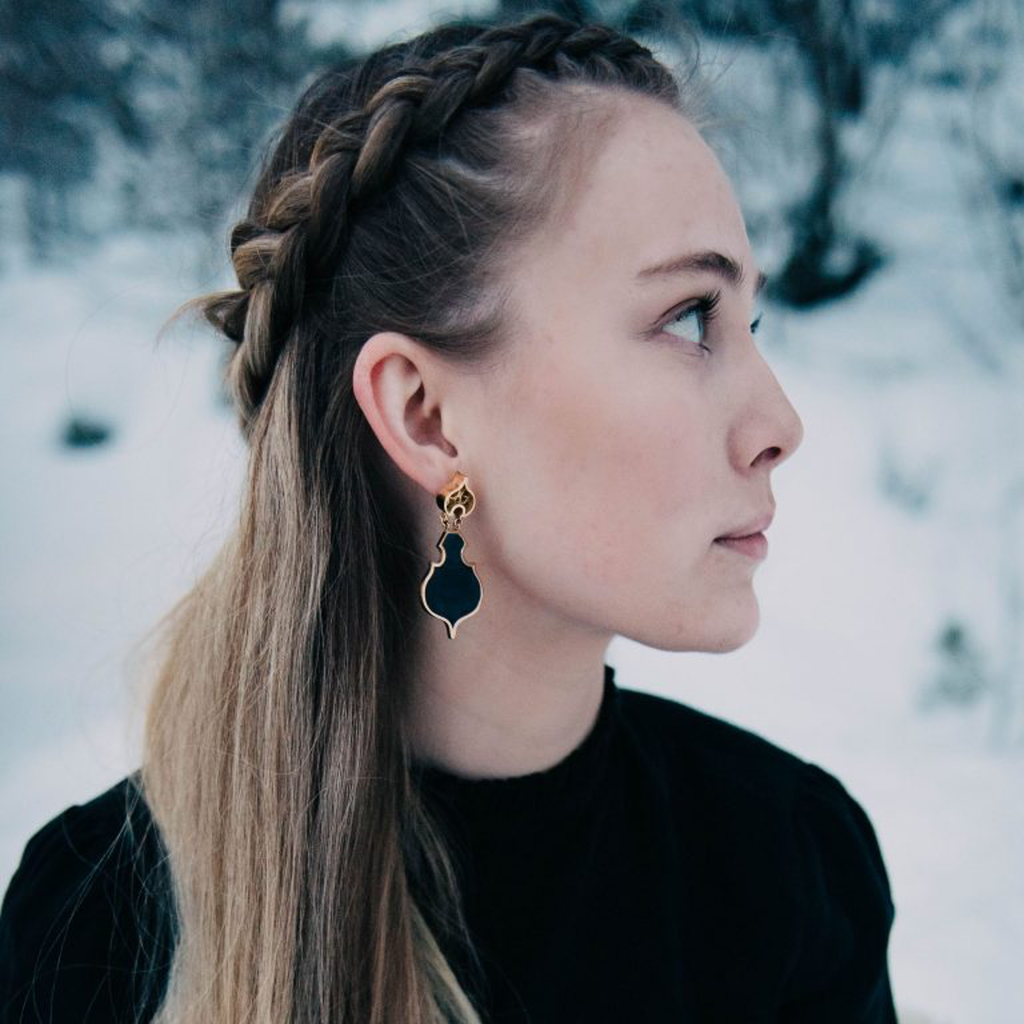 Model wearing Linn Sigrid Bratland - Silver and Black Enamel Geometric Designer Earrings on IndieFaves