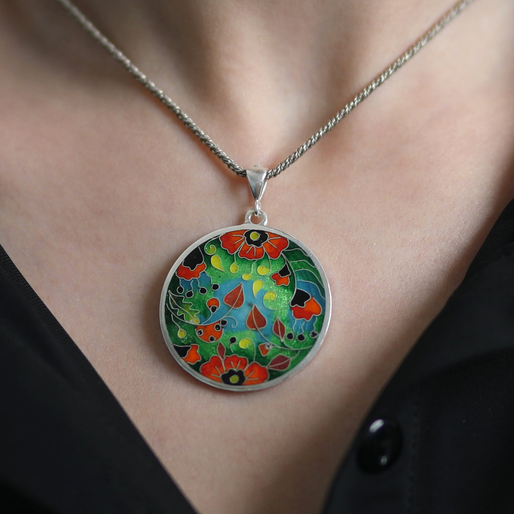 Sterling Silver and Enamel Poppies Pendant on IndieFaves
