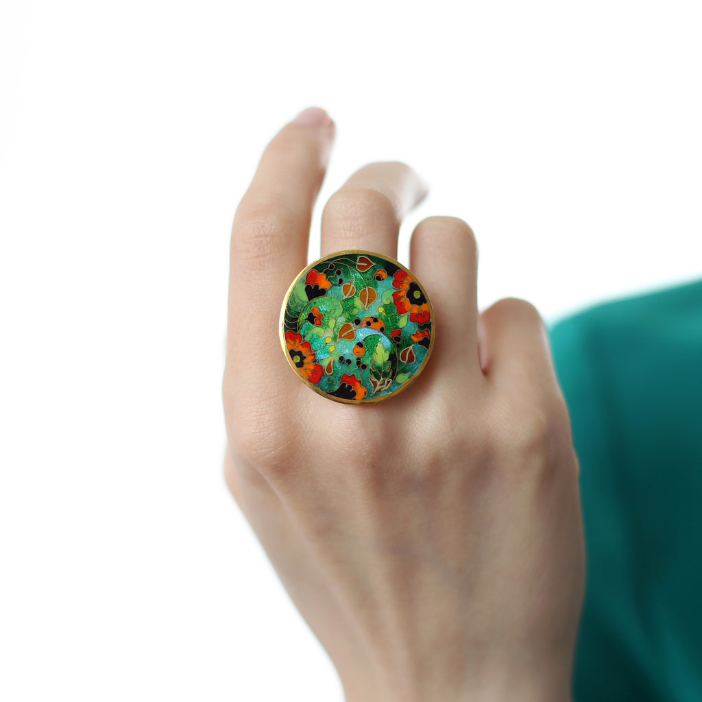 Model wearing Sterling Silver and Enamel Poppies Designer Ring on IndieFaves