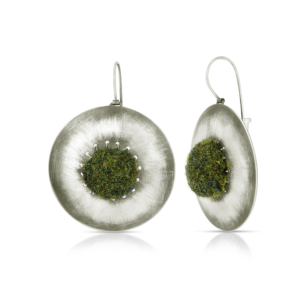 Susan Drews Watkins Large Disc Earrings Dark Green Felt Designer Earrings  on IndieFaves
