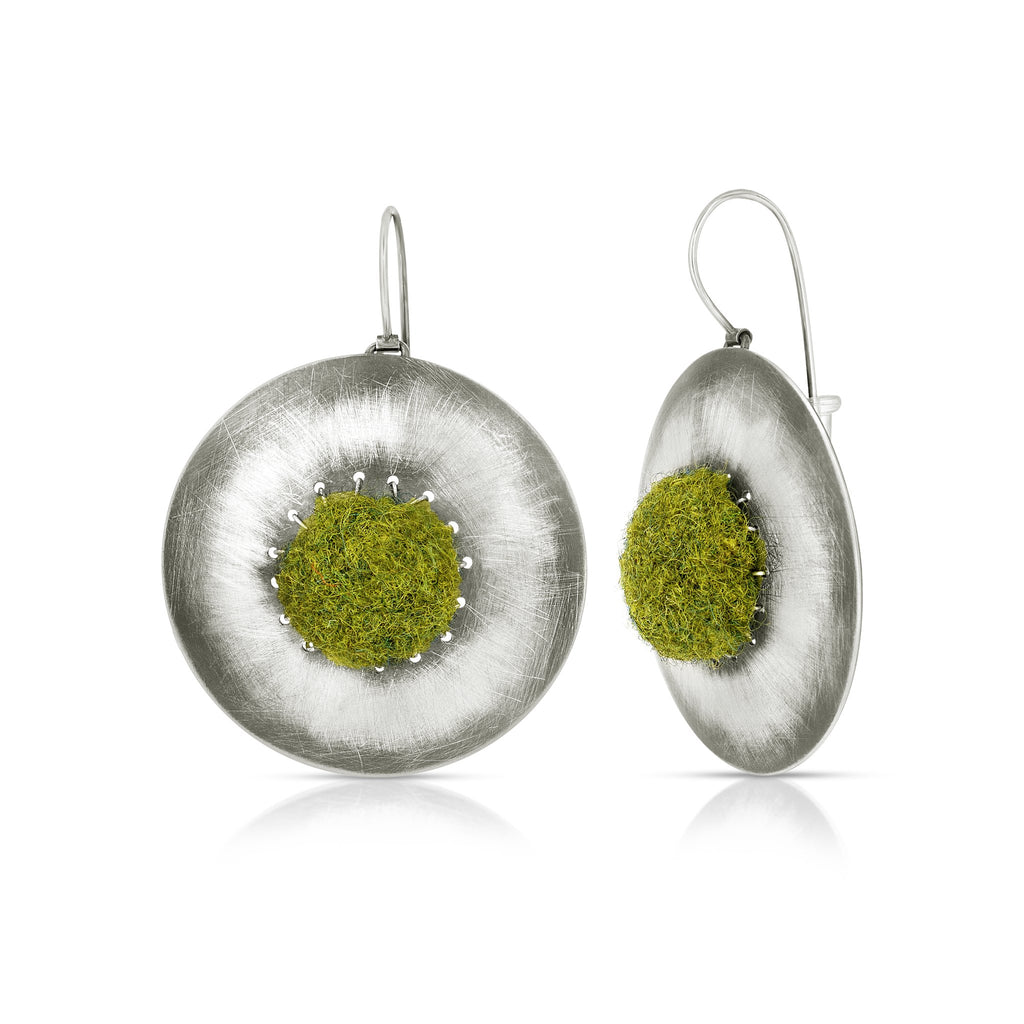 Susan Drews Watkins Large Disc Earrings Olive Green Felt Designer Earrings  on IndieFaves