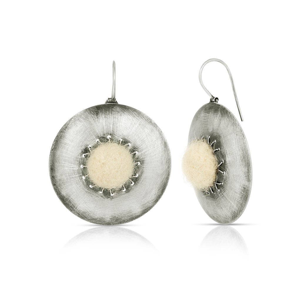 Sterling Silver and Natural Wool Felt Jewelry Designer Earrings on IndieFaves