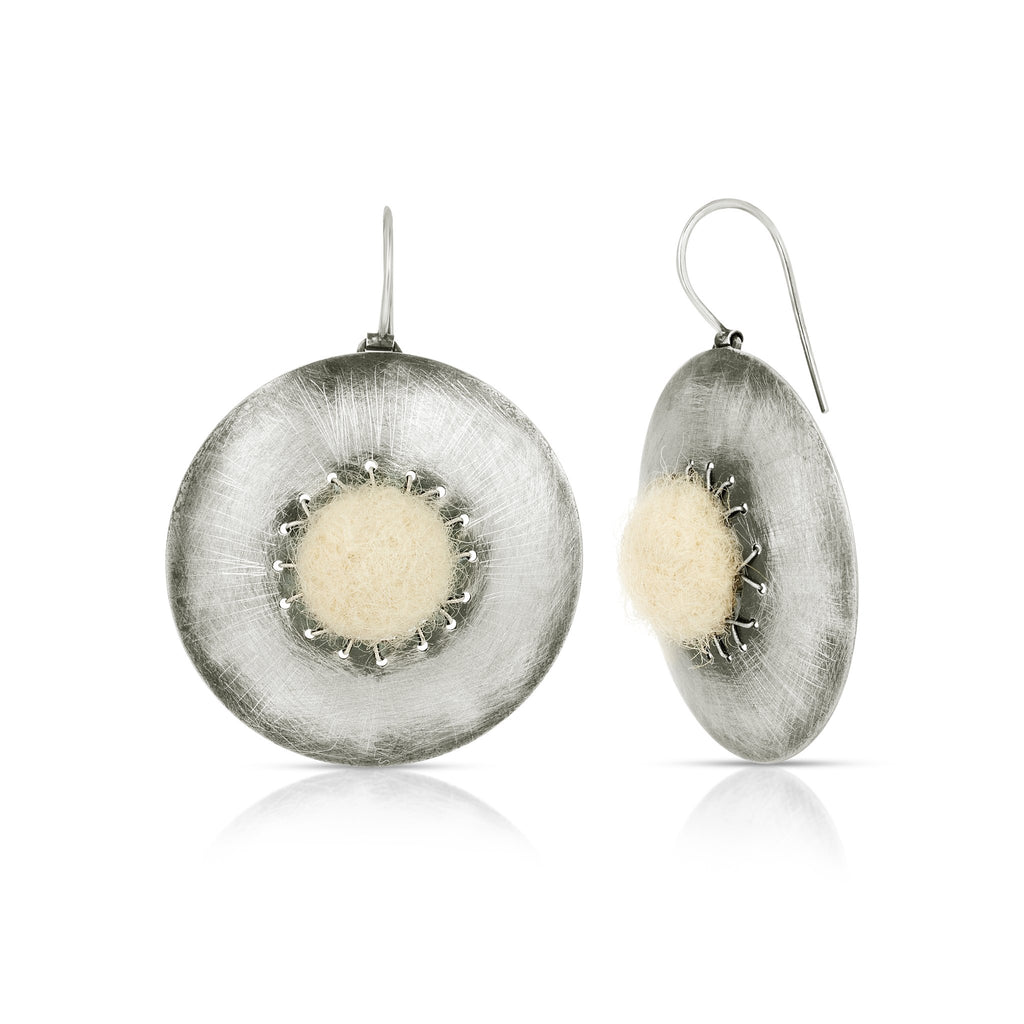 Sterling Silver and Organic White Wool Felt Earrings on IndieFaves