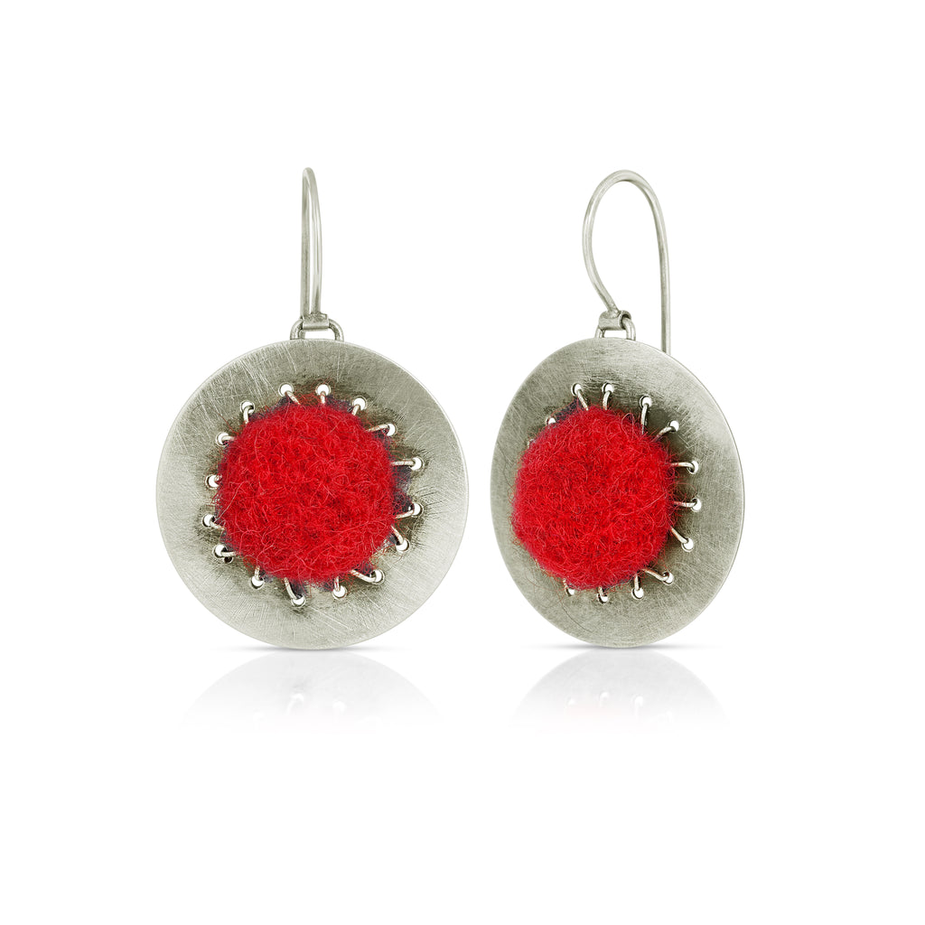 Small Disc Designer Earrings Red Felt on IndieFaves