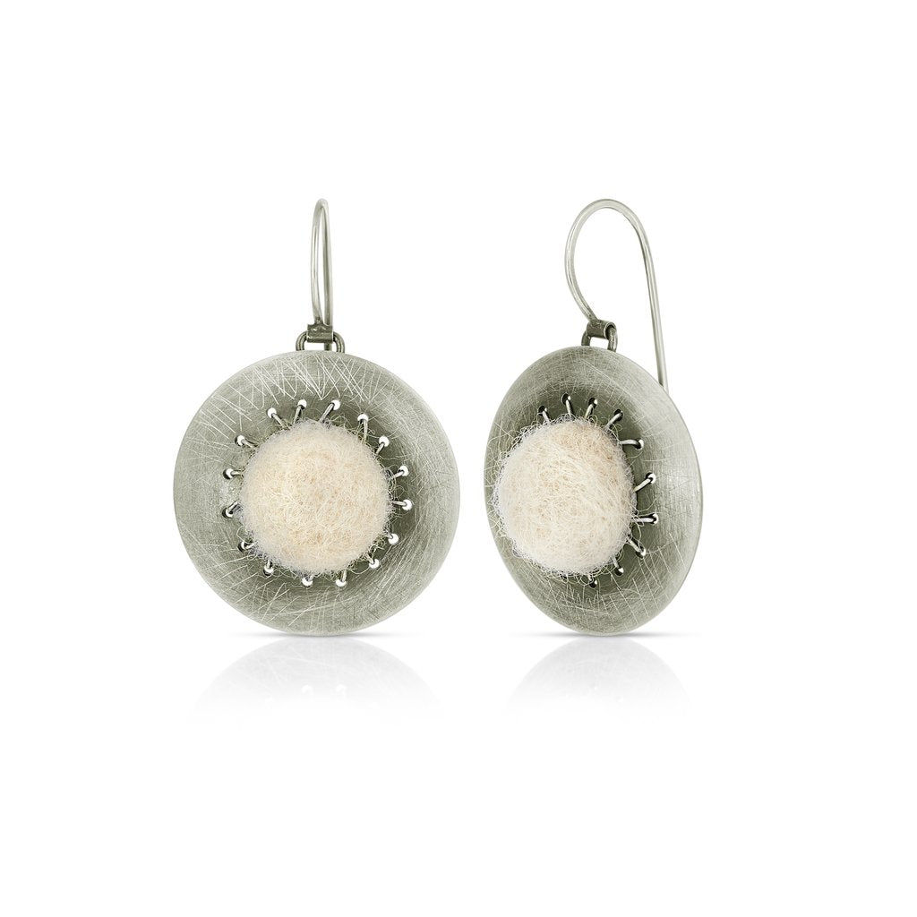 Sterling Silver and Natural Wool Felt Small Jewelry Set