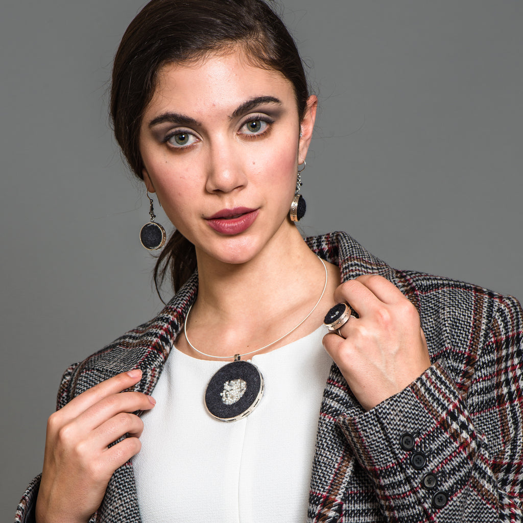 Model wearing Susan Drews Watkins - Wheel Designer Pendant Felt and Pearls on IndieFaves
