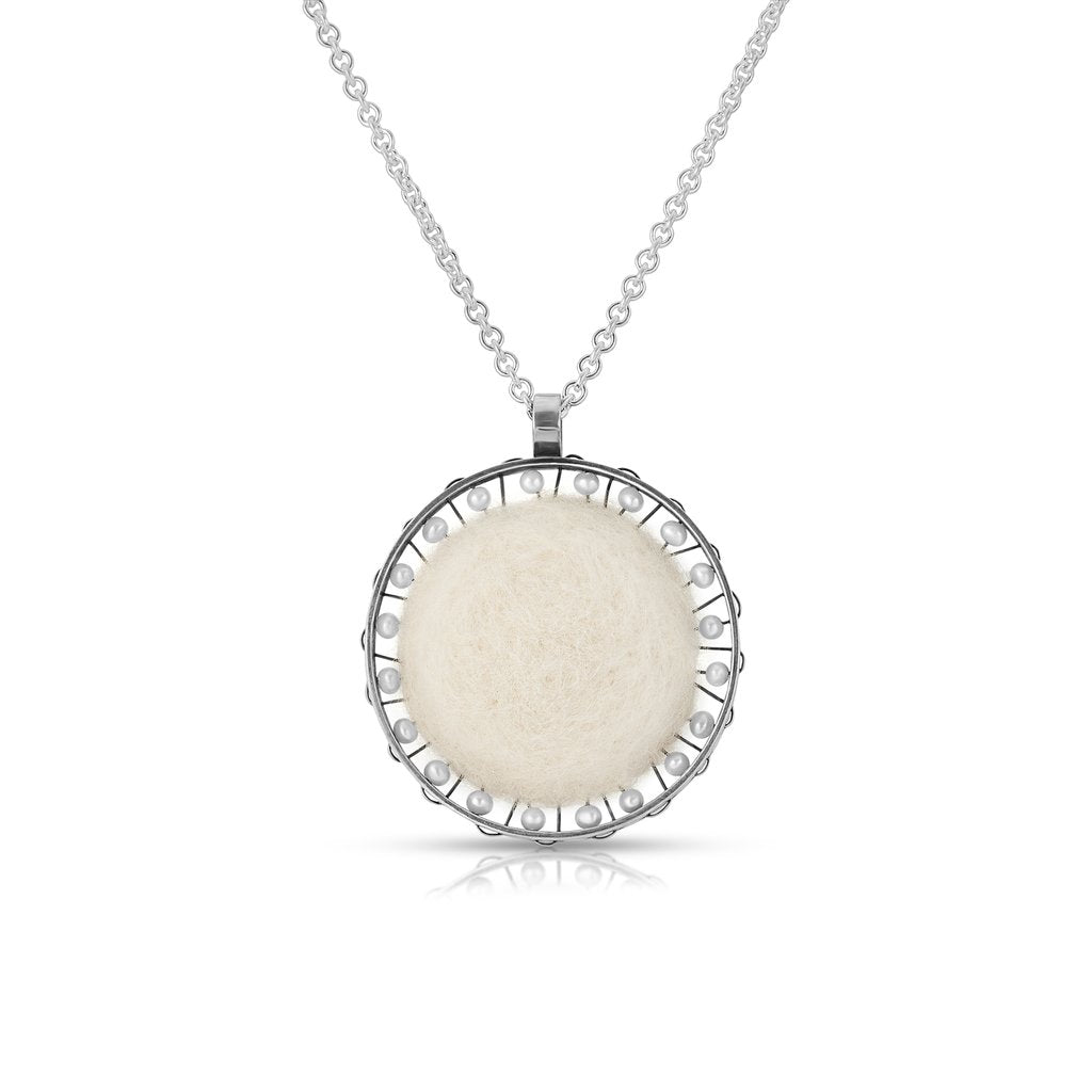 Sterling Silver and Natural Wool Felt Jewelry Designer Necklace on IndieFaves