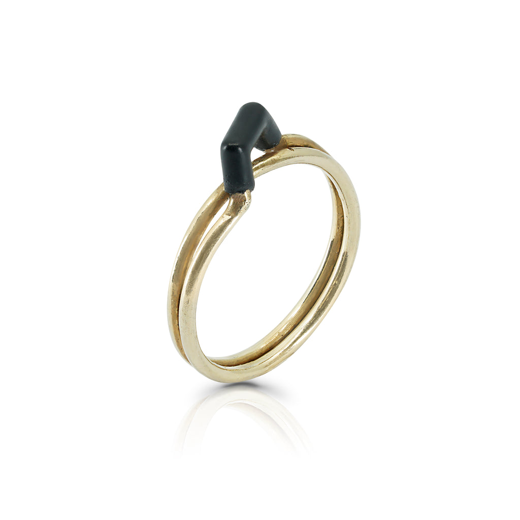 Black and Gold Duo Gold-Plated Designer Ring on IndieFaves