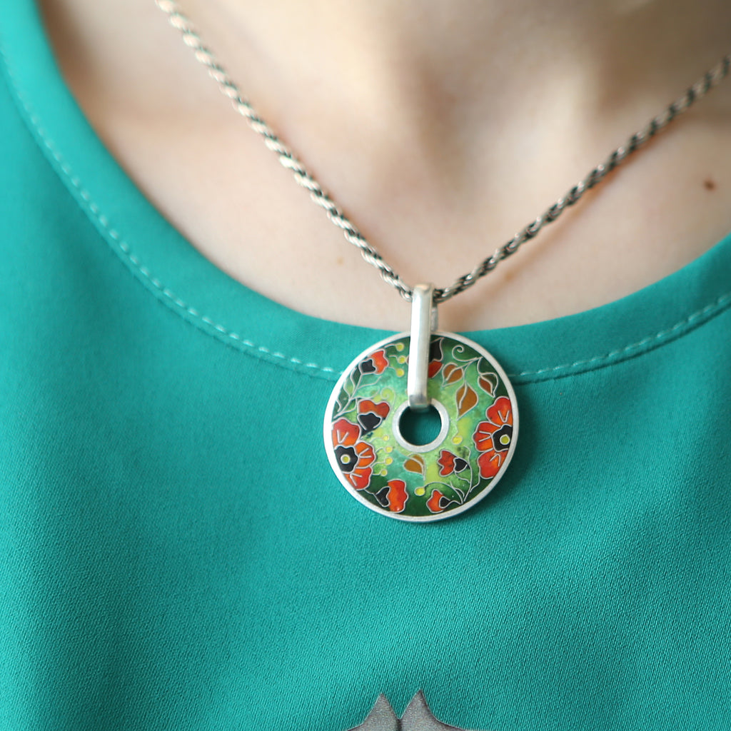Model wearing Kimili -Sterling Silver Vibrant Poppies Designer Pendant on IndieFaves