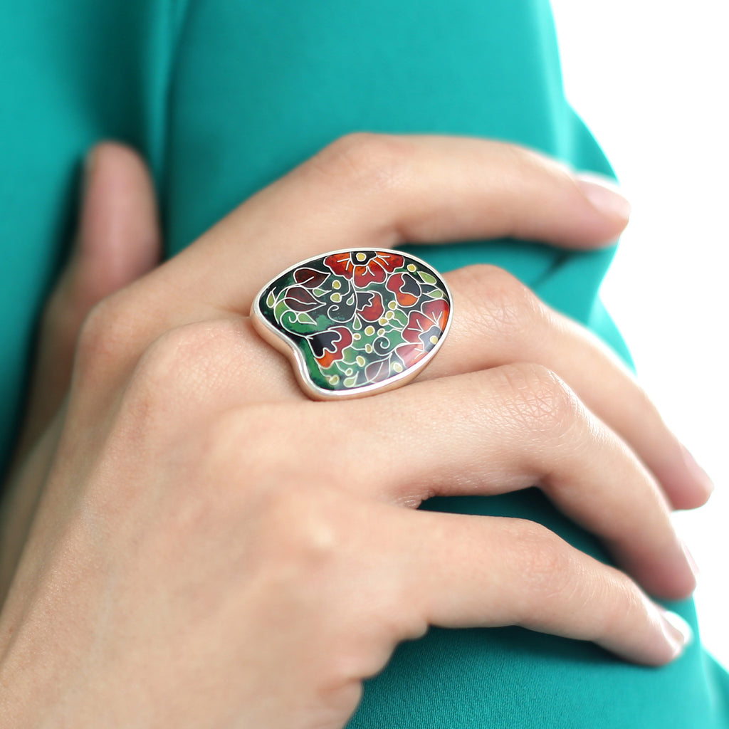 Model wearing Sterling Silver Vibrant Poppies Designer Ring on IndieFaves