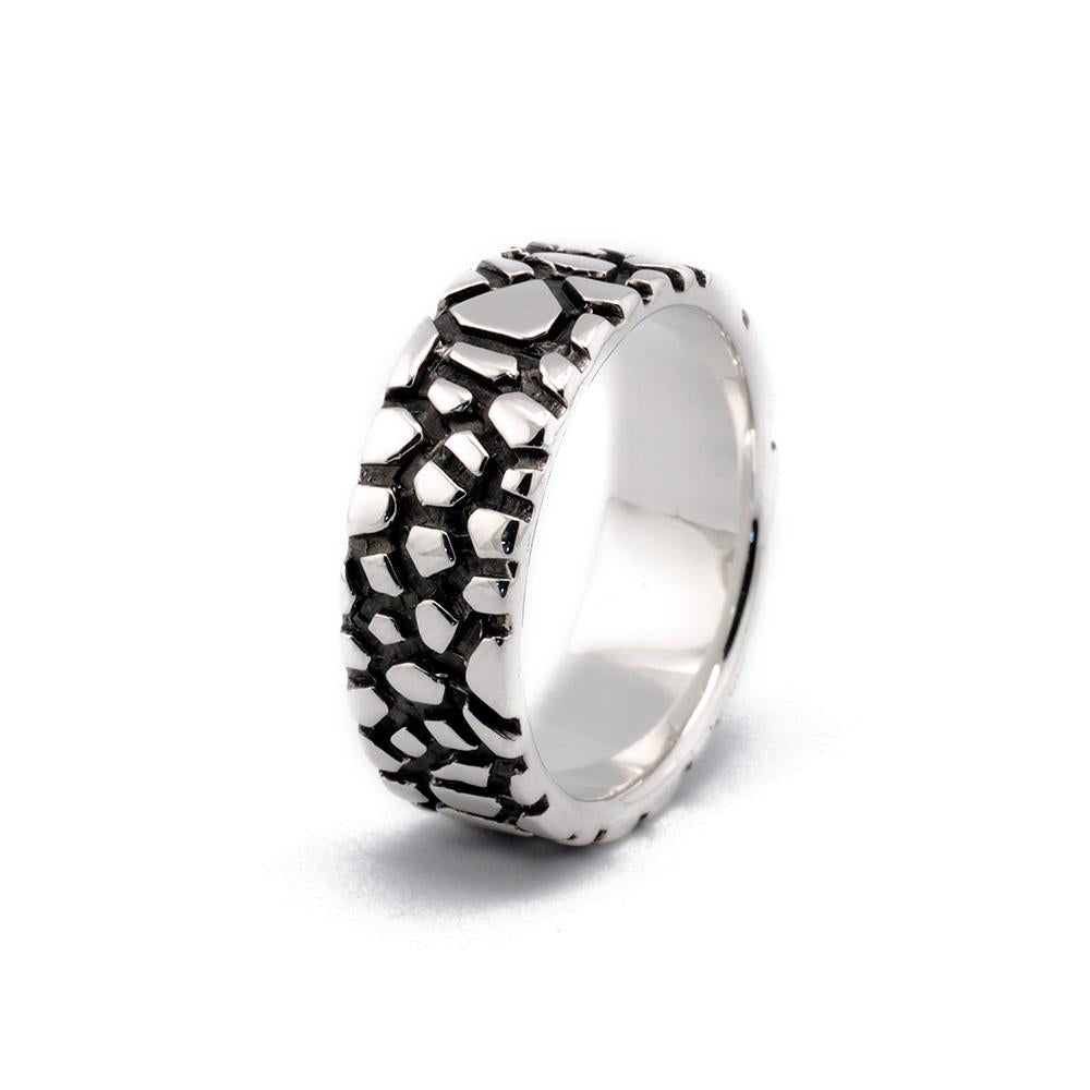 Vertical Oxidized Sterling Silver Wanderer Designer Ring on IndieFaves