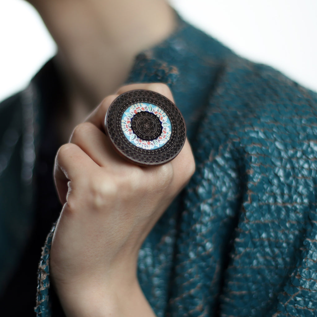 Model wearing Wood and Enamel Unique Designer Ring on IndieFaves