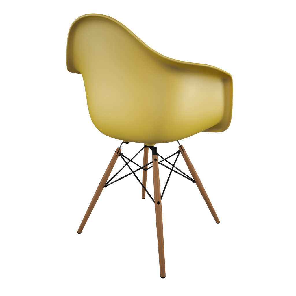 Dining chair with yellow seat and honey-tone wood base back view on IndieFaves