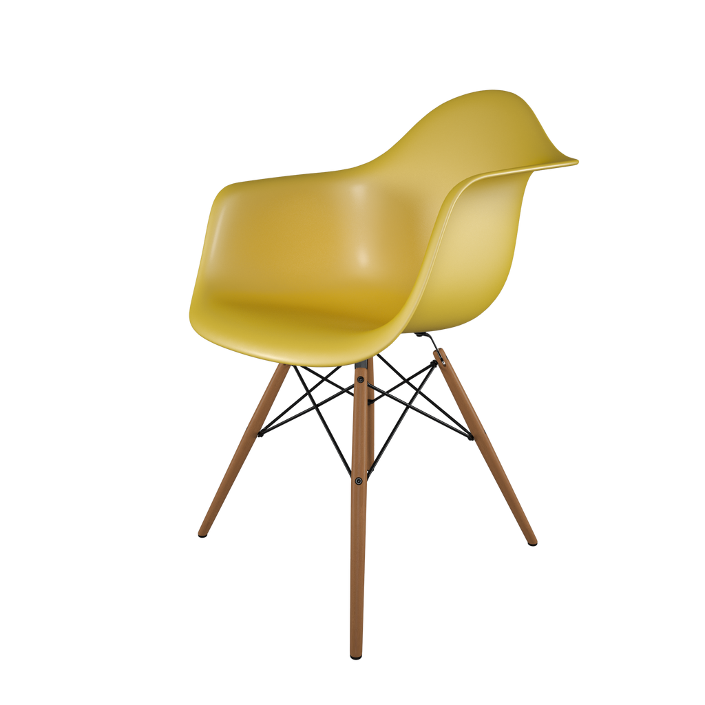 Dining chair with yellow seat and honey-tone wood base front view on IndieFaves