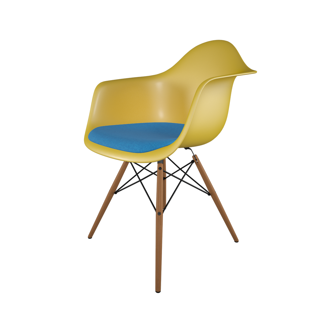 Dining chair with yellow seat, blue cushion, honey-tone wood base front view on IndieFaves