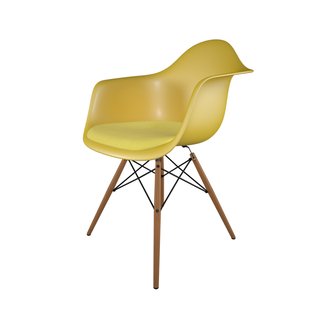 Dining chair with yellow seat, yellow cushion, honey-tone wood base front view on IndieFaves