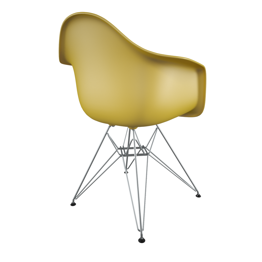 Dining chair with yellow seat and chromed steel wire base back view on IndieFaves