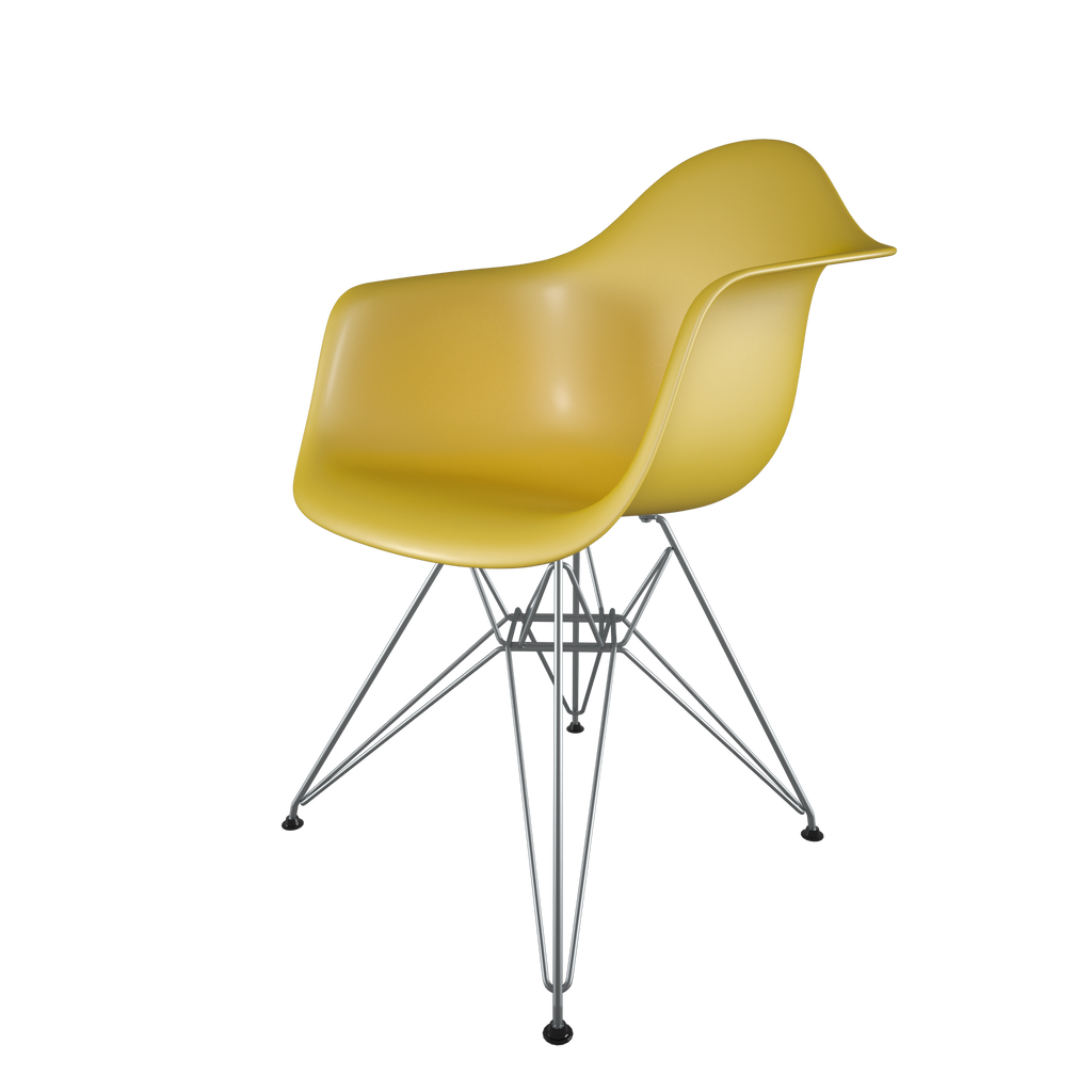 Dining chair with yellow seat and chromed steel wire base front view on IndieFaves