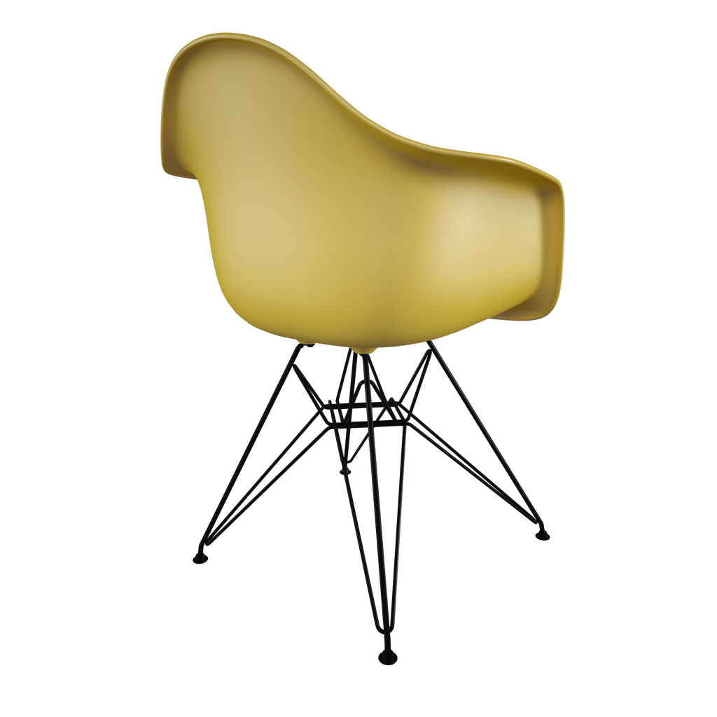 Dining chair with yellow seat and coated dark wire base back view on IndieFaves