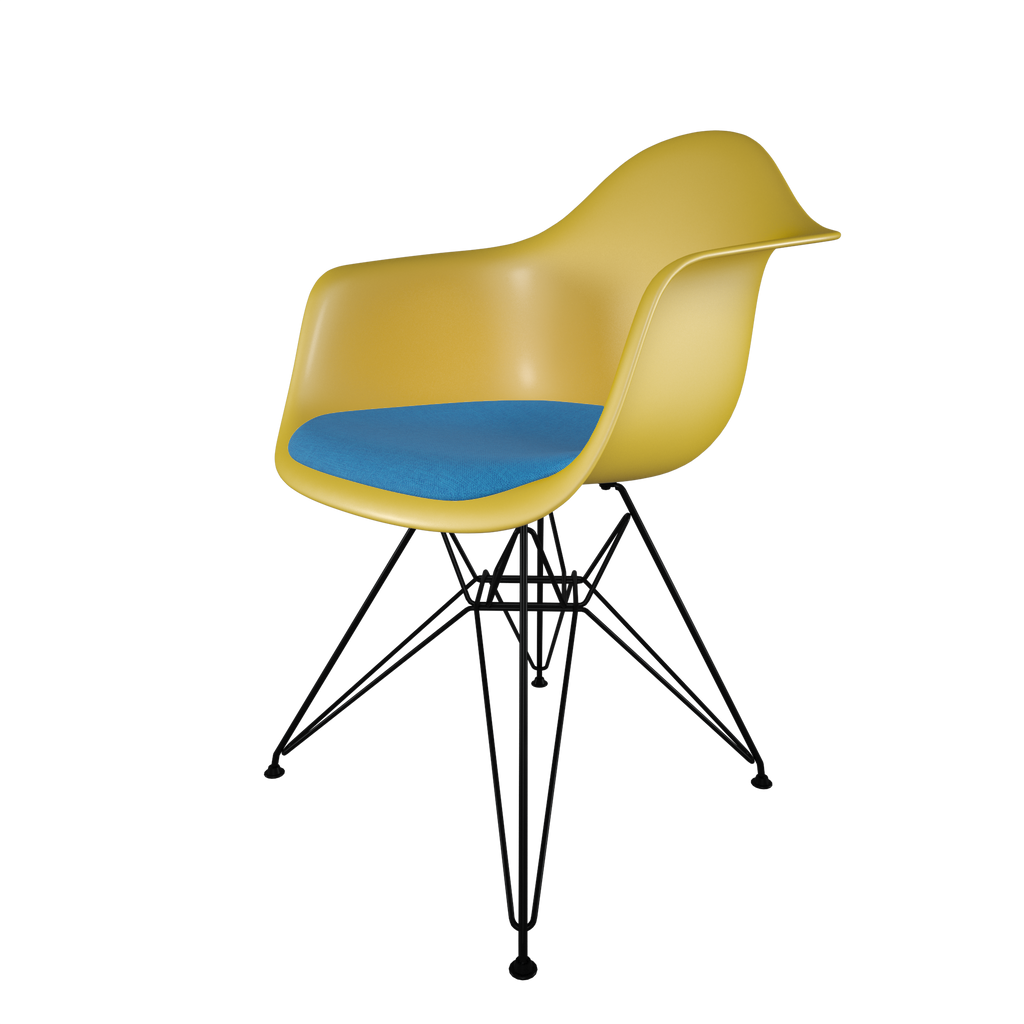 Dining chair with yellow seat, blue cushion, coated dark wire base front view on IndieFaves