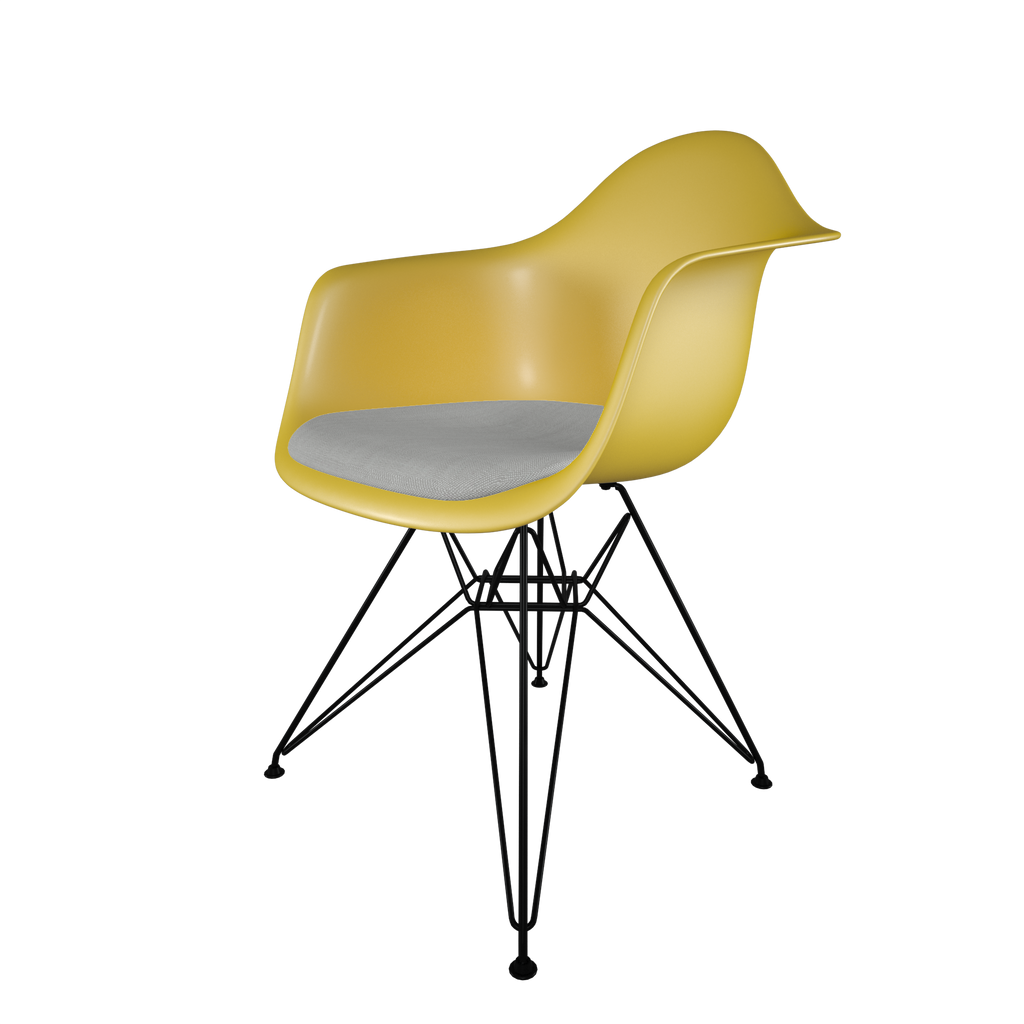 Dining chair with yellow seat, gray cushion, coated dark wire base front view on IndieFaves