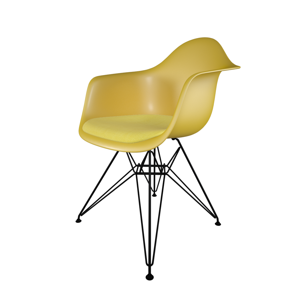 Dining chair with yellow seat, yellow cushion, coated dark wire base front view on IndieFaves
