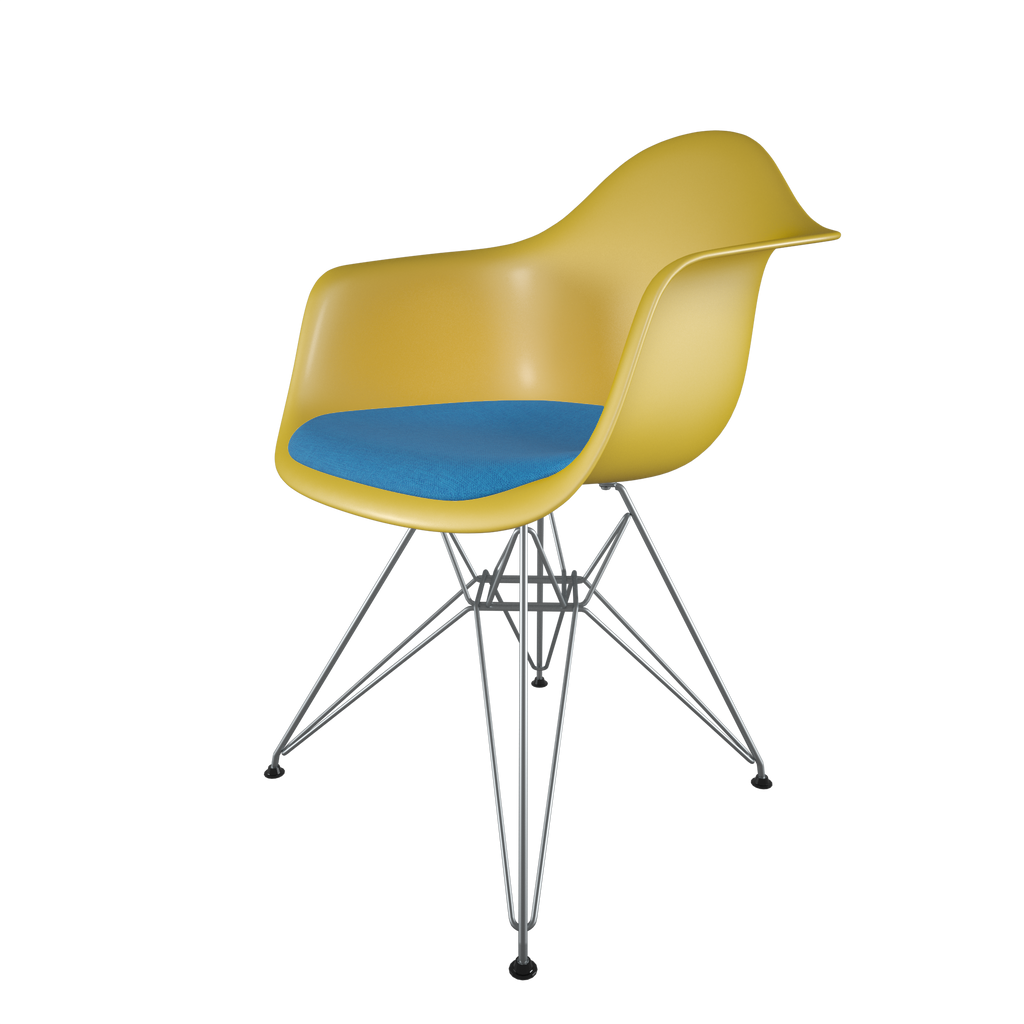 Dining chair with yellow seat, blue cushion, chromed steel wire base front view on IndieFaves