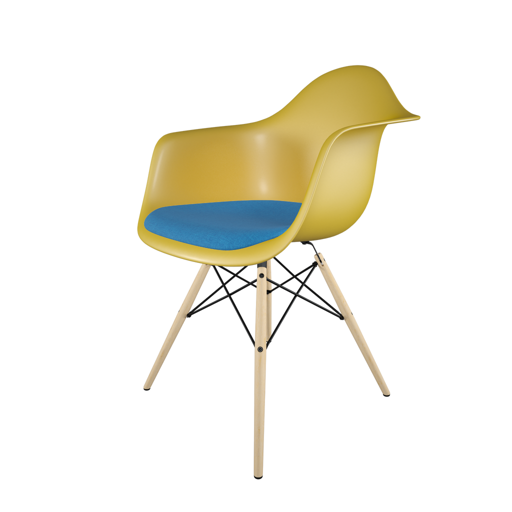 Dining chair with yellow seat, blue cushion, golden maple wood base front view on IndieFaves
