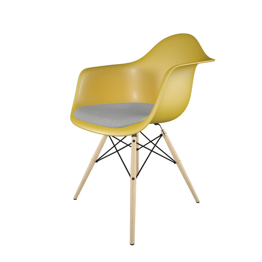 Dining chair with yellow seat, gray cushion, golden maple wood base front view on IndieFaves