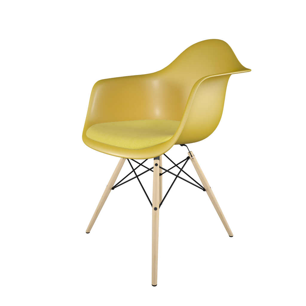 Dining chair with yellow seat, yellow cushion, golden maple wood base front view on IndieFaves