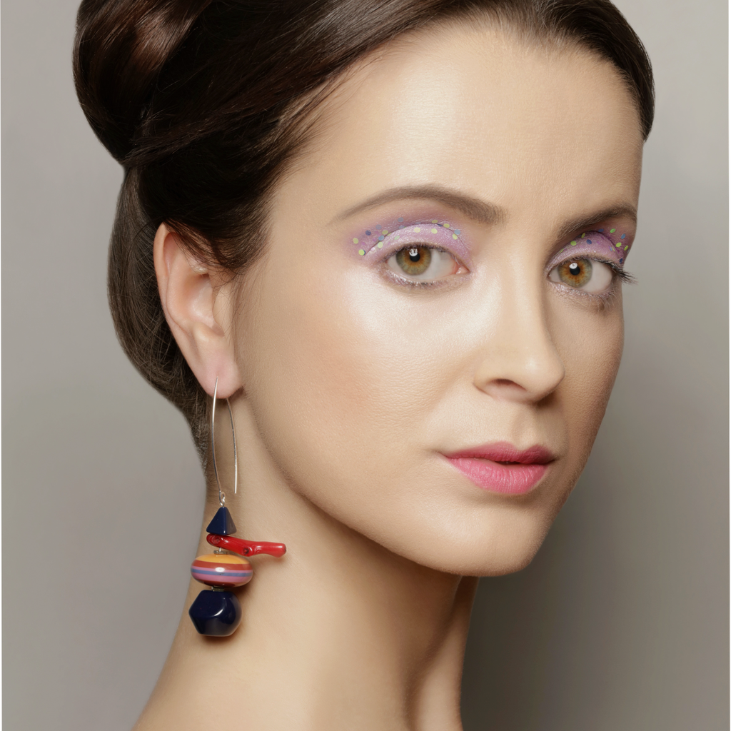 Model wearing Mara Colecchia - Merry Go Round Designer Earrings on IndieFaves