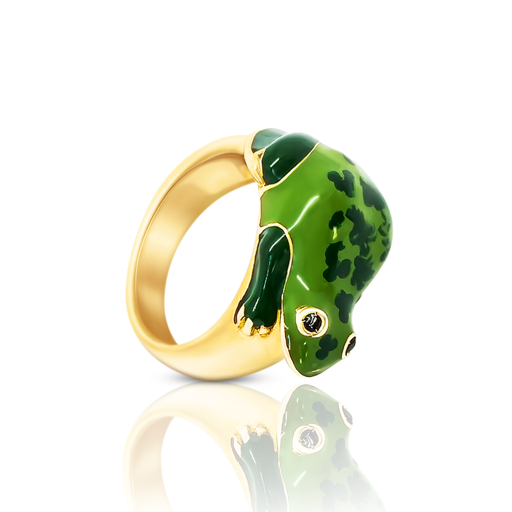 chiara bello 18k gold-plated enamel Betta Frog Designer ring On IndieFaves