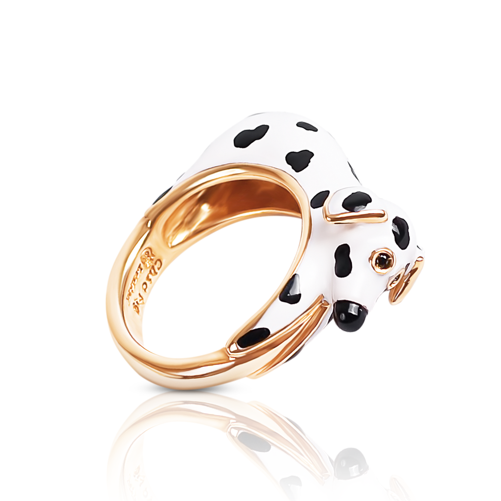 chiara bello 18k gold-plated enamel GIANNA DALMATIAN Designer ring on IndieFaves