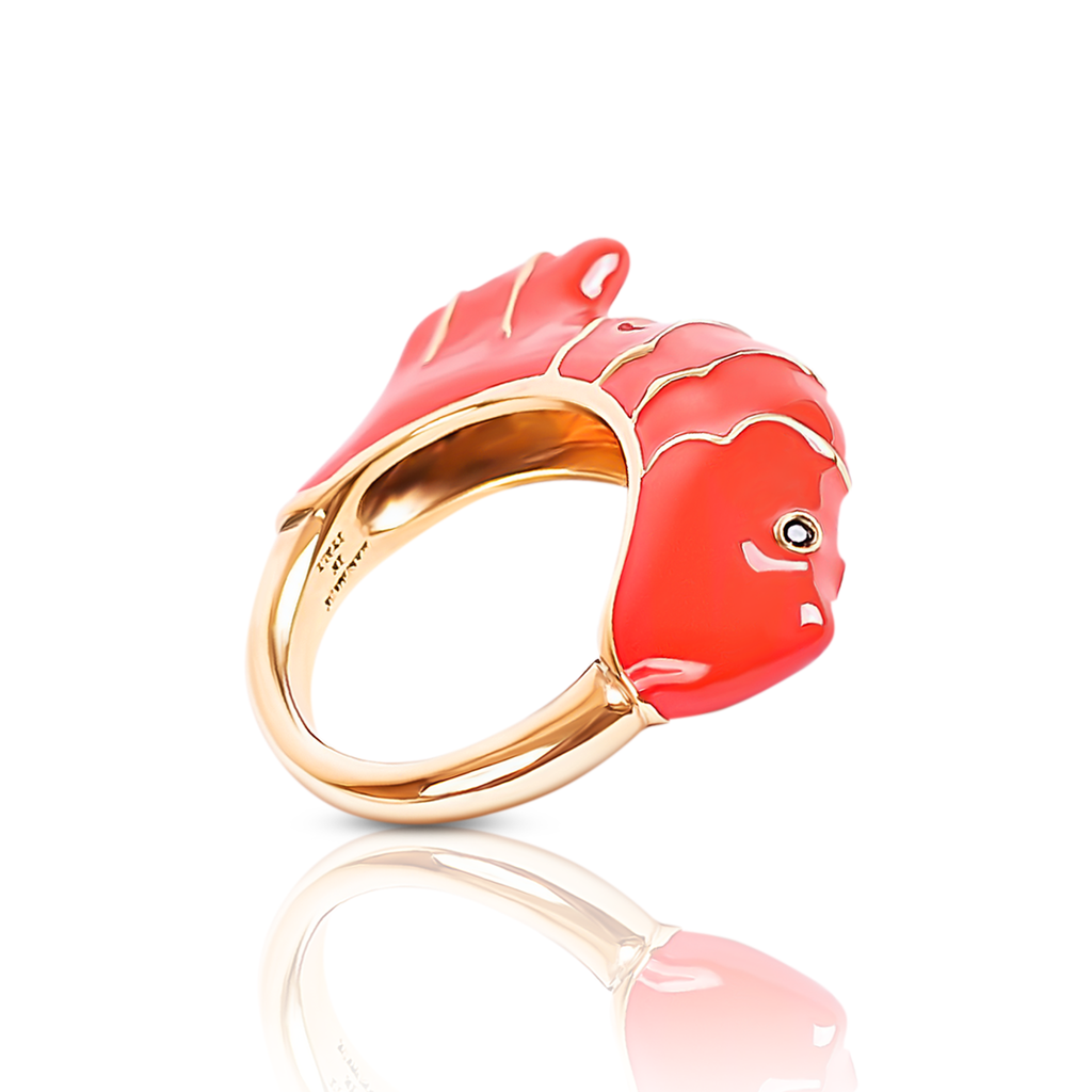 chiara bello 18k gold-plated enamel GINO FISH Designer ring on IndieFaves
