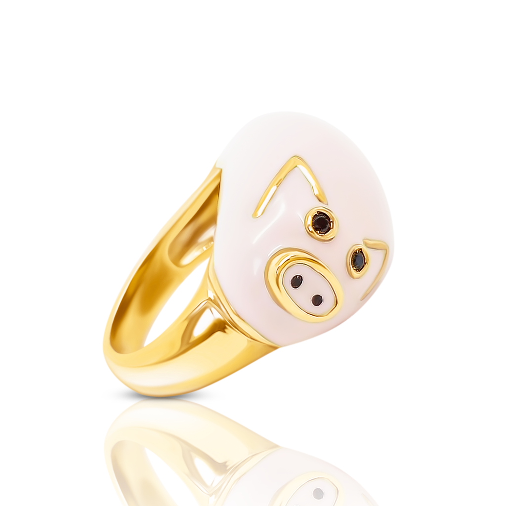 Chiara bello 18k gold-plated enamel LINO PIG Designer ring on IndieFaves