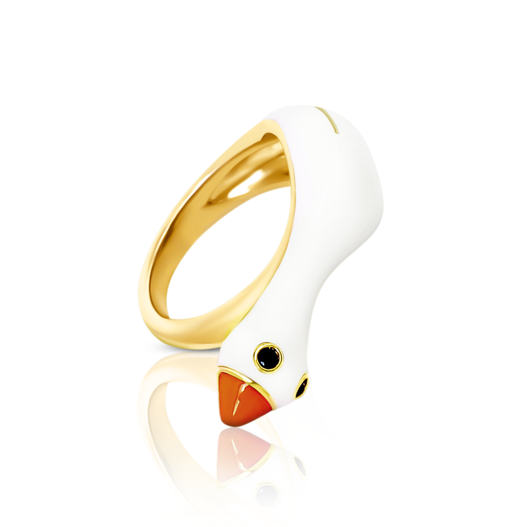 chiara bello 18k gold-plated enamel LULU GOOSE Designer ring on IndieFaves