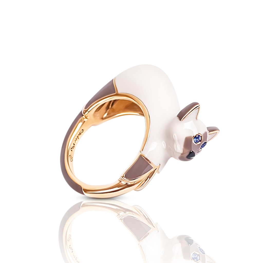 chiara bello 18k gold-plated enamel MARISA SIAMESE Designer ring on IndieFaves