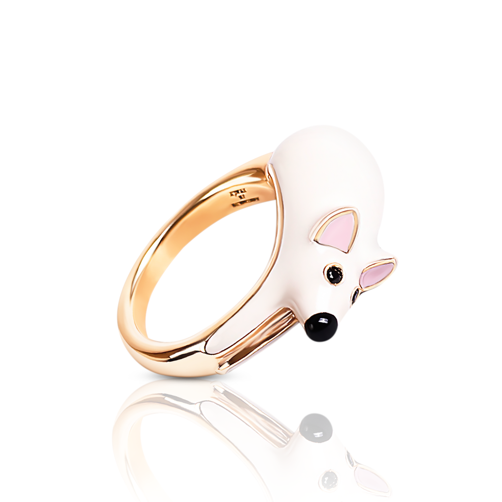 chiara bello 18k gold-plated enamel PINO MOUSE Designer ring on IndieFaves