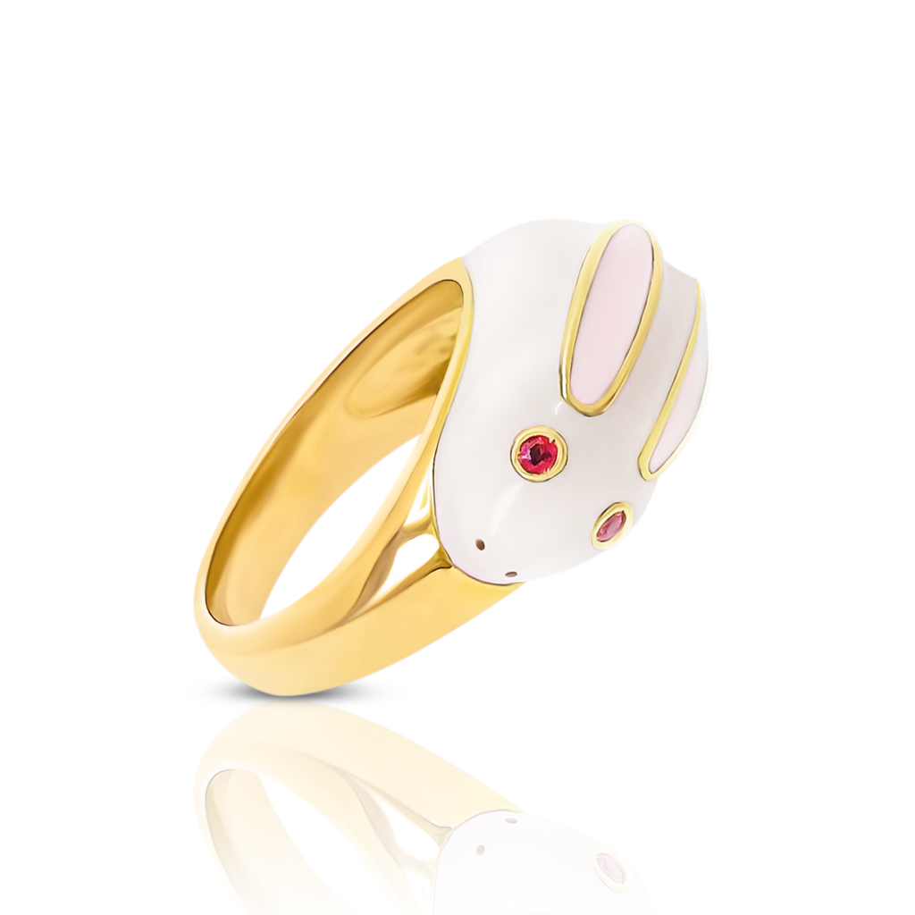 chiara bello 18k gold-plated enamel ROBI RABBIT Designer ring on IndieFaves