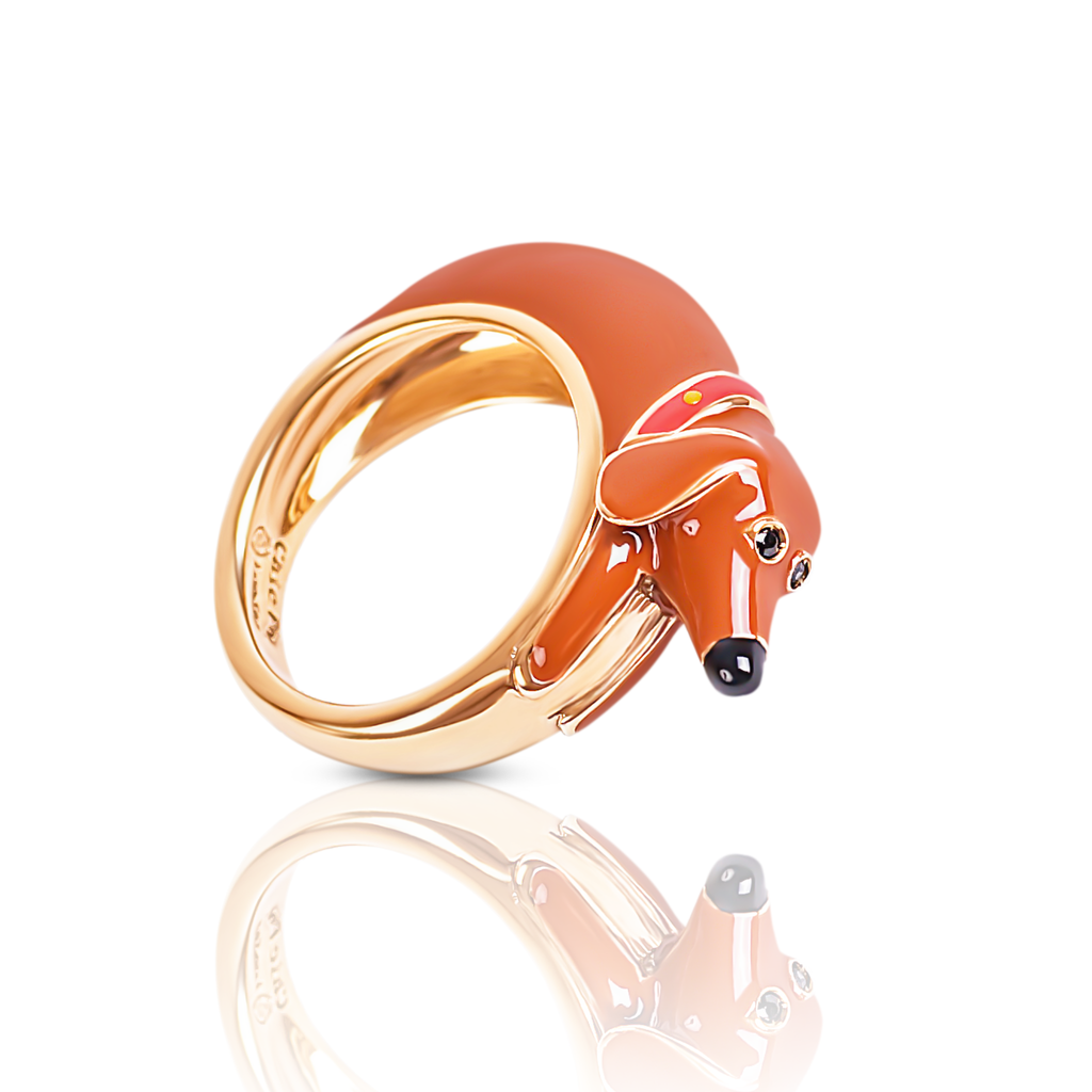 Chiara bello 18k gold-plated enamel UGO SAUSSAGE Designer ring on IndieFaves