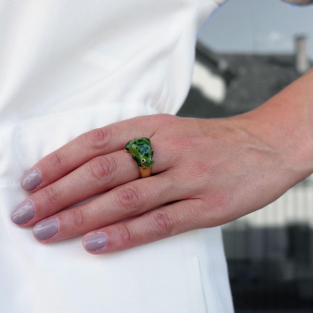model wearing chiara bello 18k gold-plated enamel Betta Frog Designer ring on IndieFaves